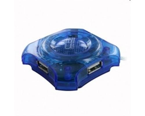 Контроллер CBR CH-127 USB-концентратор , 4 порта, 2.0, голуб.