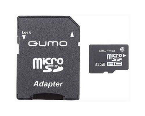Micro SecureDigital 32Gb QUMO QM32GMICSDHC10U1 MicroSDHC Class 10 UHS-I, SD adapter