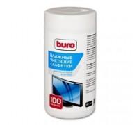BURO BU-Tscrl 817440 Салфетки для экранов ЭЛТ мониторов/плазменных/ЖК телевизоров/мониторов с покрытием из стекла туба 100шт влажных