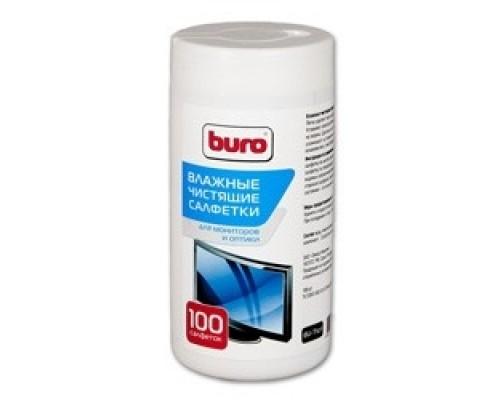 Салфетки BURO BU-Tscrl для экранов ЭЛТ мониторов/плазменных/ЖК телевизоров/мониторов с покрытием из стекла туба 100шт влажных 817440