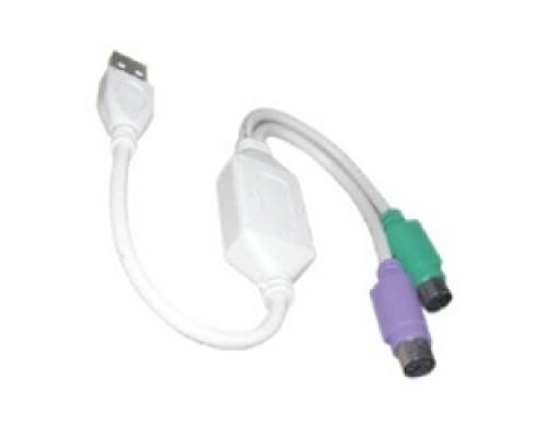 VCOM VUS7057 -адаптер USB A->2xPS/2 (адаптер для подключения PS/2 клавиатуры и мыши к USB порту)