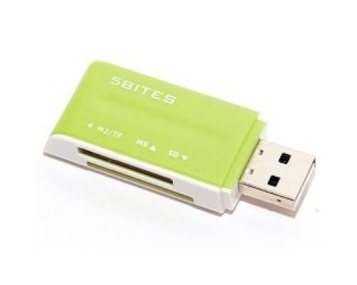 5bites RE2-102GR (RE-102GR) Устройство ч/з карт памяти USB2.0 / ALL-IN-ONE / USB PLUG / GREEN