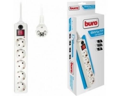BURO Сетевой фильтр, 5 розеток, 10 метров, (500SH-10-W), белый (коробка) 992302