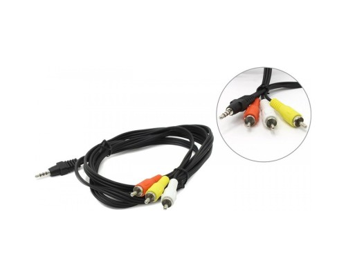 аудио/видео Cablexpert, джек3.5 4pin папа->3х RCA папа, 2м, черный (CCA-4P2R-2M)