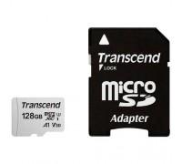 Micro SecureDigital 128Gb Transcend Class 10 TS128GUSD300S-A MicroSDXC Class 10 UHS-I U3, SD adapter