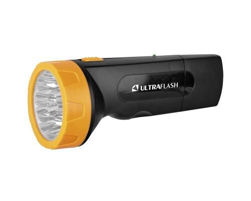 Ultraflash LED3829 (фонарь аккум 220В, черн /желт, 9 LED, SLA, пластик, коробка)
