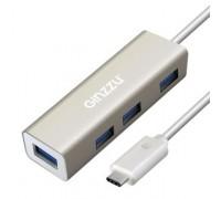 HUB GR-518UB Ginzzu TYPE C, 4 порта USB3.0, 20см кабель