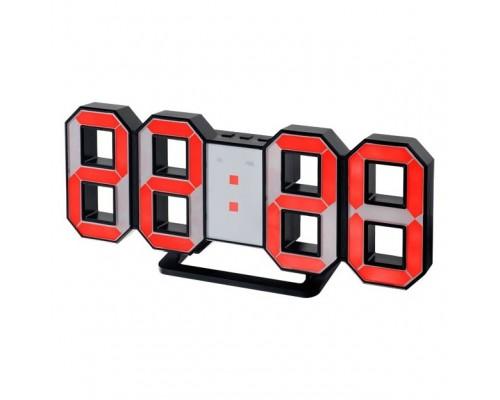 Perfeo LED часы-будильник LUMINOUS, черный корпус / красная подсветка (PF-663)