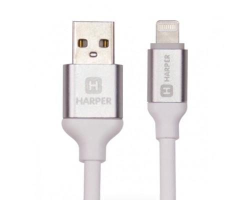 Кабель Harper Силиконовый для зарядки синхронизации USB - Lightning, SCH-530 white